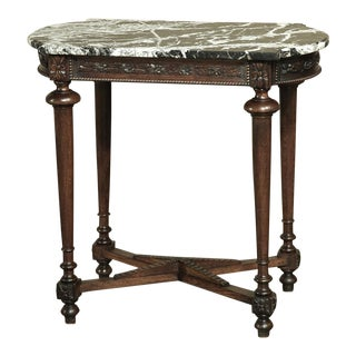19th Century French Louis XVI Marble Top Walnut End Table For Sale