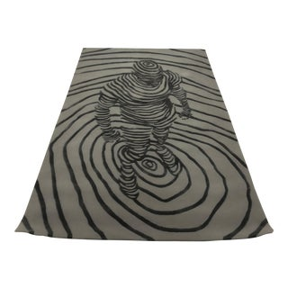 Contemporary Custom Merino for Hokanson Carpets Black and Gray Wool Rug