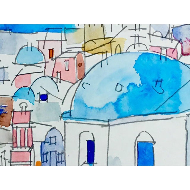 "Contemporary ""Mykonos"" Cityscape Watercolor Painting For Sale - Image 3 of 3"
