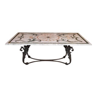 Antique Italian Mosaic Marble Table on French Iron Table Base For Sale