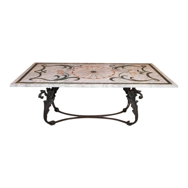 Antique Italian Mosaic Marble Table on French Iron Table Base - Image 1 of 8