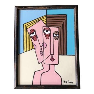 "Original Contemporary b.d. Floyd Folk Art Painting ""Best Friends"" For Sale"