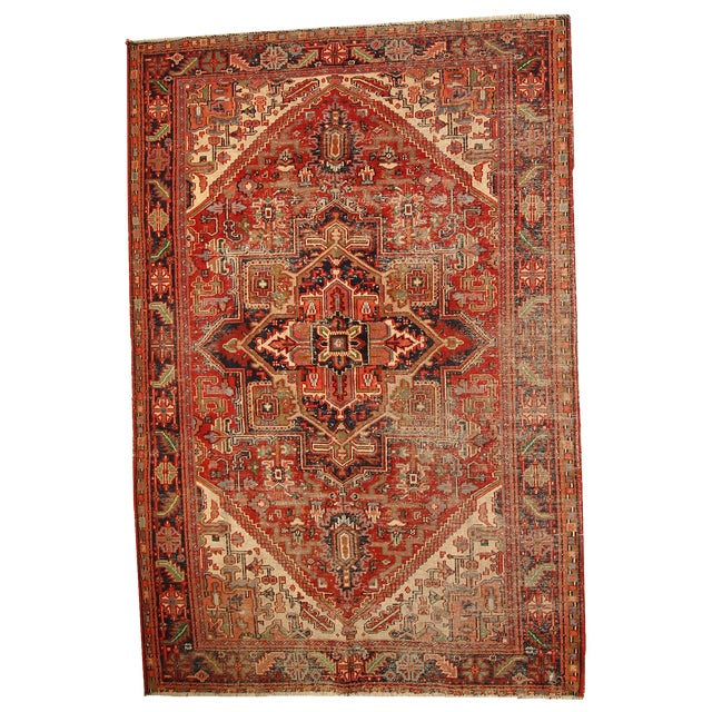 1920s Hand Made Antique Persian Heriz Rug - 5′7″ × 8′1″ - Image 1 of 10