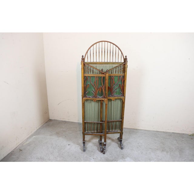 20th Century French Art Nouveau in Wood Colored Glass and Fabric Screen For Sale - Image 10 of 11