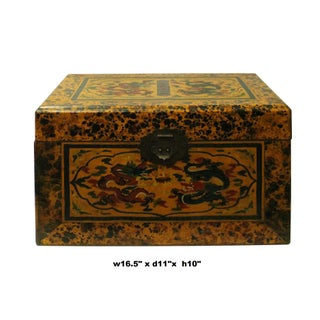 Chinese Distressed Yellow Dragon Graphic Rectangular Box Preview