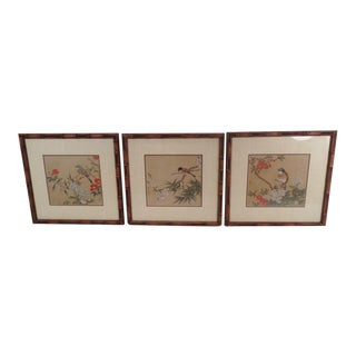 Vintage Regency Japanese Silk Bird & Floral Prints- Set of 3