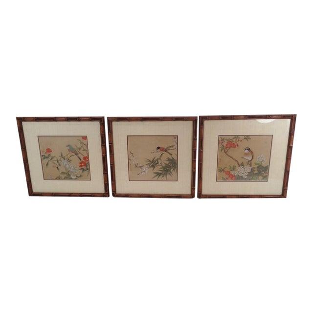 Vintage Regency Japanese Silk Bird & Floral Prints- Set of 3 For Sale