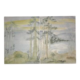 Villeroy & Boch Hand Painted Landscape Tiles - A Pair