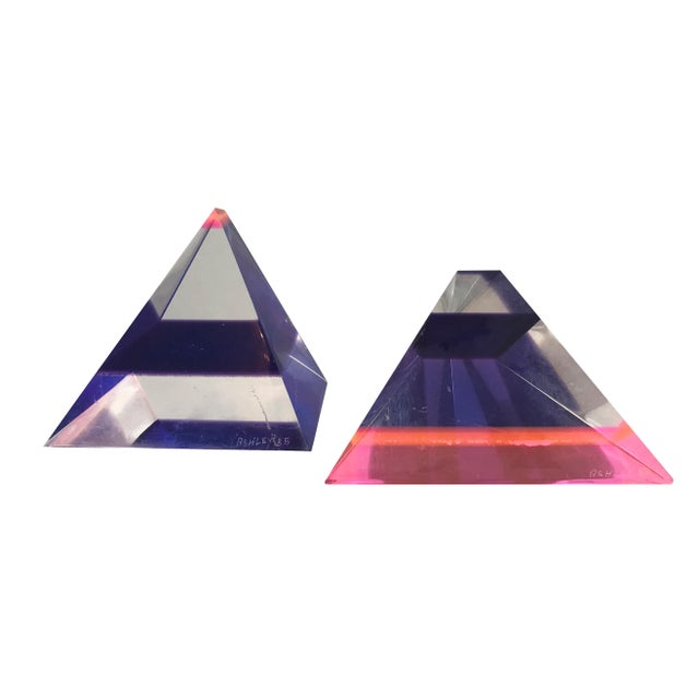 Pair of 1980's Multi -Colored Acrylic 3-D Trapezoids - Signed Ashley Style of Vasa For Sale - Image 13 of 13