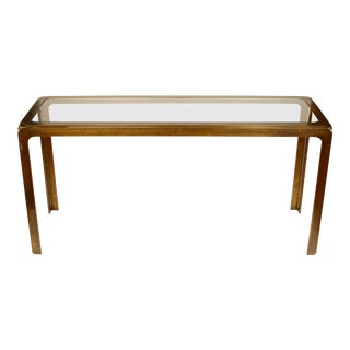 Mastercraft Style Bronze Metal and Glass Console For Sale