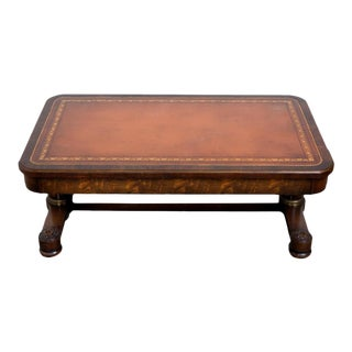 Vintage Mahogany Coffee Table With Leather Top