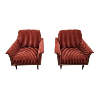 Pair of Vintage Mid Century Bordeaux Striped Velvet French Lounge Chairs Fauteuils For Sale