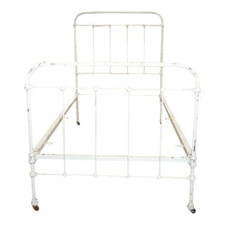 Antique Victorian White Iron Twin Size Bed For Sale