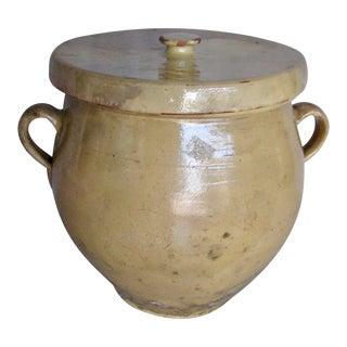 19th Century French Country Rustic Yellow Grease Pot or Country Pottery For Sale