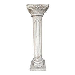 1900s Boho Chic Antique White Wood Column Pedestal