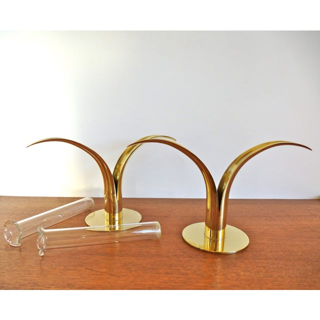 Ystad Metall Brass Lily Candle Holders/Vases - Image 6 of 8