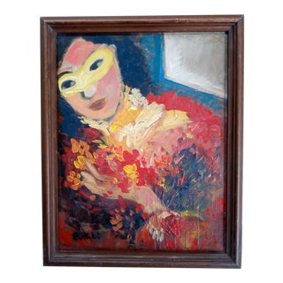 Mid 20th Century Portrait of a Woman Abstract Oil Painting, Framed For Sale