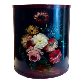 Vintage Hand Painted Tole Floral Trashcan For Sale