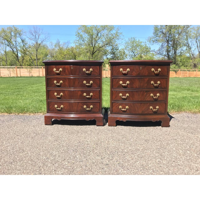 Late 20th Century Chippendale Walnut Nightstands by Drexel Heritage - a Pair For Sale - Image 5 of 5