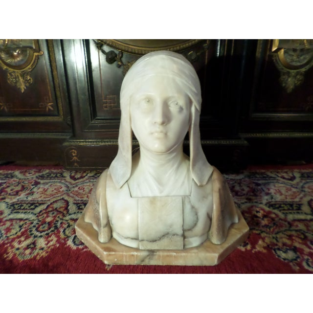 This is a Antique Alabaster and Marble Bust of a Woman on a Marble Plinth by Renowned Artist / Sculpture Pro. Giuseppe...