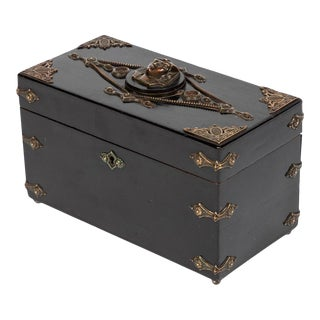 19th Century Ebonized and Decorated Box with Ornate Hardware For Sale