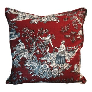 Red & Blue Provincial Decorative Pillow