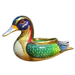 Vintage Sergio Bustamante Hand Painted Duck Planter Sculpture For Sale