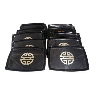 Set of 11 Black Gold Asian Regency Hard Plastic Melamine Appetizer Small Rectangular Plates For Sale