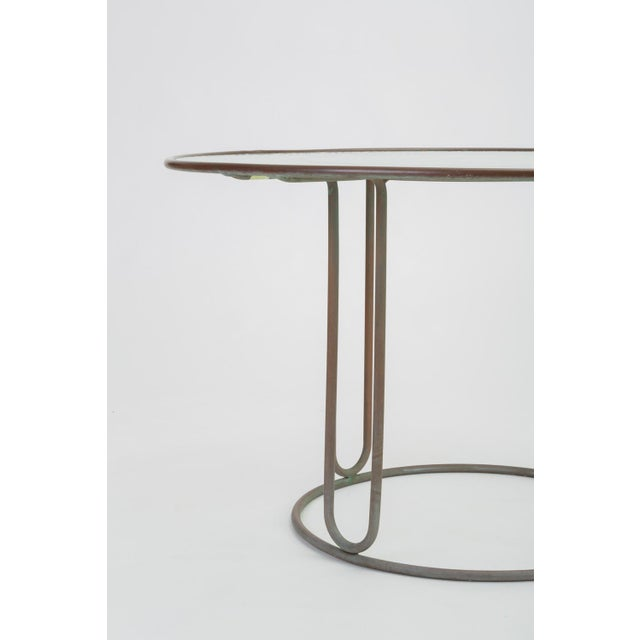 Round Patio Table With Oxidized Bronze Frame by Walter Lamb for Brown Jordan For Sale - Image 10 of 13