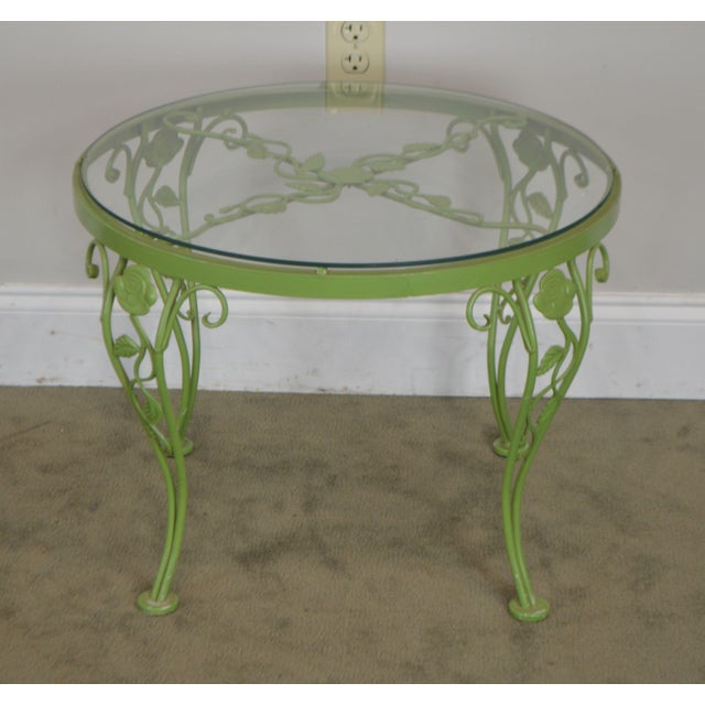 Traditional Woodard Chantilly Rose Garden Vintage Green Painted Wrought Iron Round Patio Side Table For Sale - Image 3 of 13