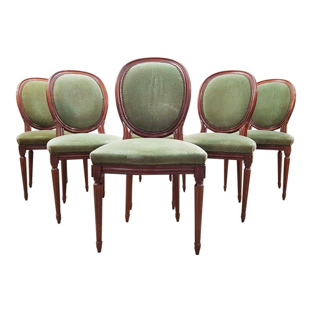 French Vintage Louis XVI Style Green Velvet Medallion Back Dining Chairs - Set of 6 For Sale