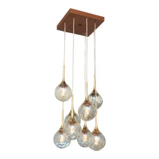 A Danish Modern Teak, Brass, and Glass 8 Lite Chandelier, Kai Kristiansen