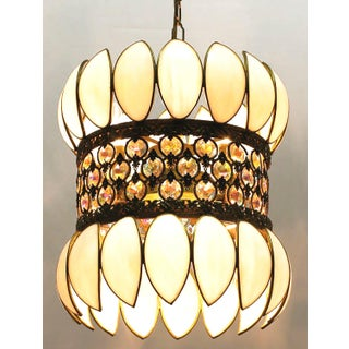 Brass Filigree and White Opalescent Glass Pendant Light Preview