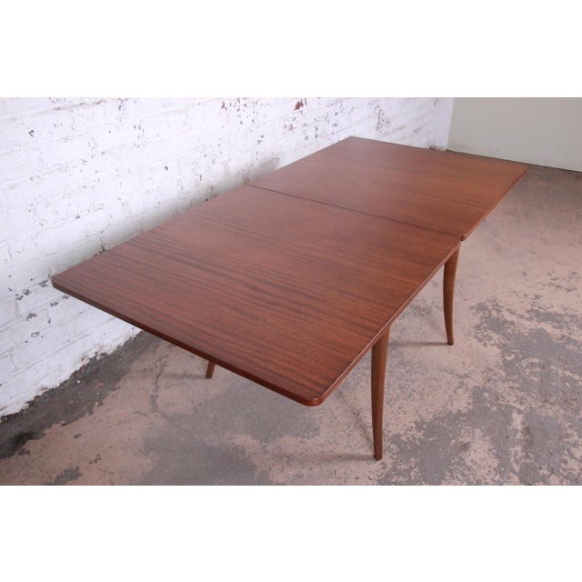 Harvey Probber Mid-Century Modern Mahogany Saber Leg Flip Top Extension Dining or Game Table For Sale - Image 10 of 11