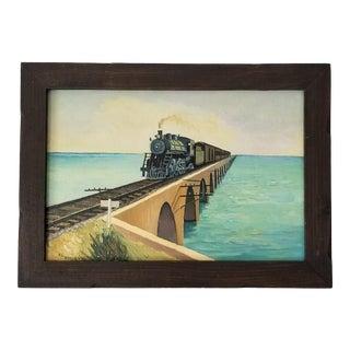 1976 Al Perez Train Crossing the Bridge Oil Landscape Painting . For Sale