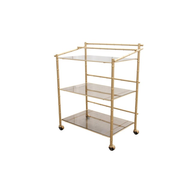 Chinoiserie Faux Bamboo Bar Cart - Image 2 of 7