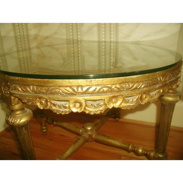 French 19th C. Hand Carved Gilt Coffee Table - Image 3 of 10