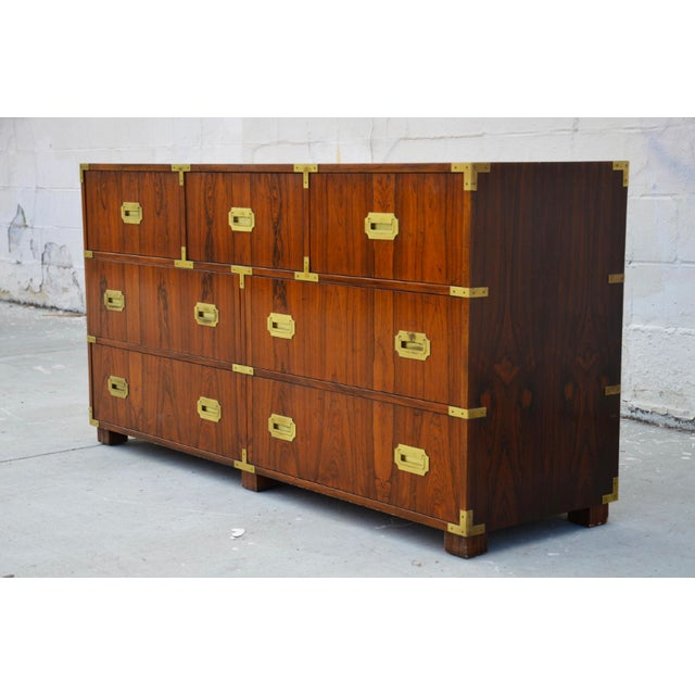 Campaign Walnut Baker Chests of Drawers - a Pair For Sale - Image 3 of 12