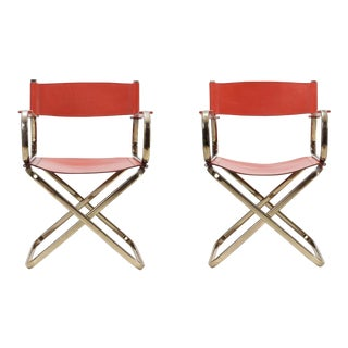 Mid-Century Modern Arrben Directors Chairs in Brass and Red Leather For Sale