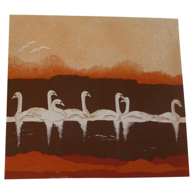 Vintage 1970s Fabric Art of Graceful Swans - Image 1 of 7