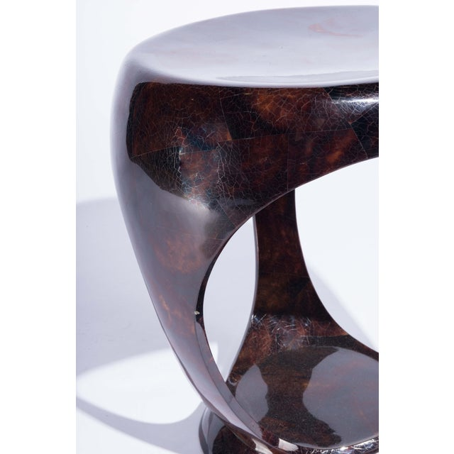 R & Y Augousti Ring Stool in Black Shagreen and Bronze-Patina Brass by R&y Augousti For Sale - Image 4 of 13