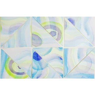 Abstract Watercolor Mosaic Painting For Sale