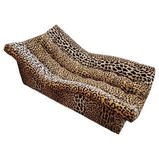 Vintage Tufted Leopard Chaise Lounge For Sale