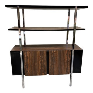 Mid Century Two Tier Chrome Shelf Cabinet For Sale