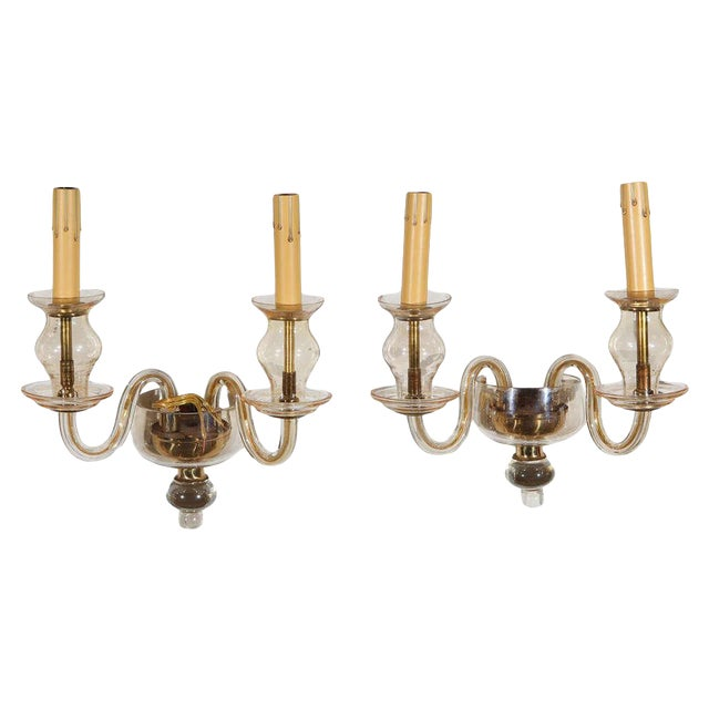 Vintage Italian Murano Glass Sconces - A Pair For Sale