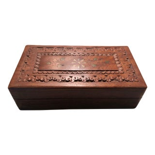 """Vintage Anglo-Indian 9""""Carved Wood Jewelry Box For Sale"""