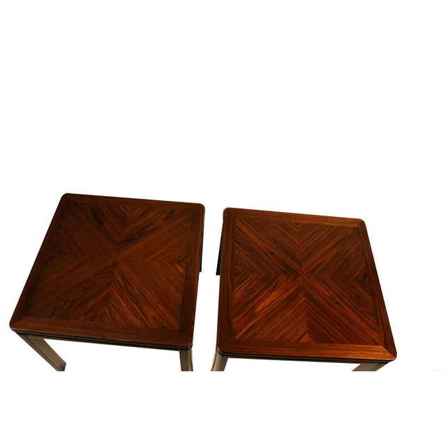 Brown Pair Mid Century Lane Rosewood Side Tables For Sale - Image 8 of 11