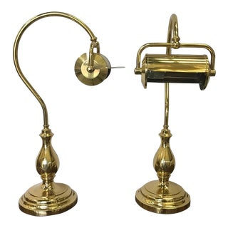 Brass Goose Neck Library Lamps - a Pair For Sale