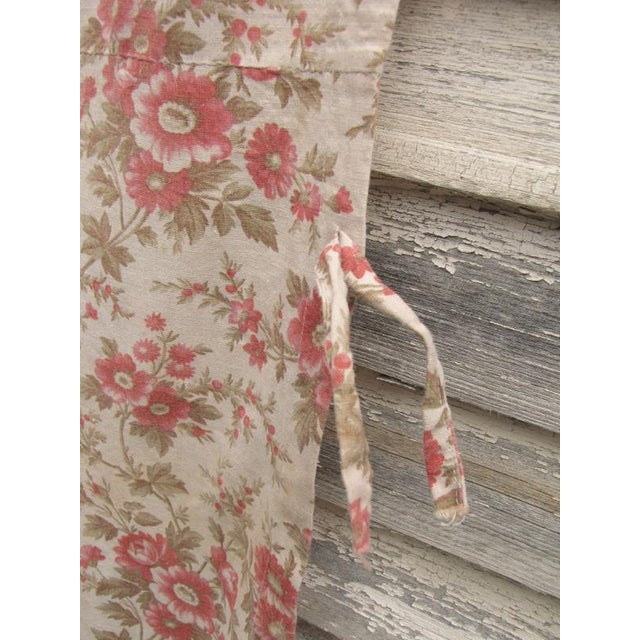 French Antique French Fabric Floral Pink & Madder Tones Soft Cotton/Linen Fabric - 59ʺW × 64ʺD For Sale - Image 3 of 5