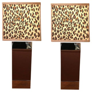 1970s Ralph Lauren Animal Print Shade Leather and Chrome Table Lamps - a Pair For Sale